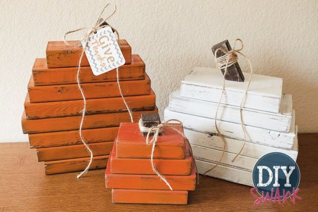 wood-stack-pumpkins DIY Ideas Pinterest Woods, Wood pumpkins - halloween diy ideas