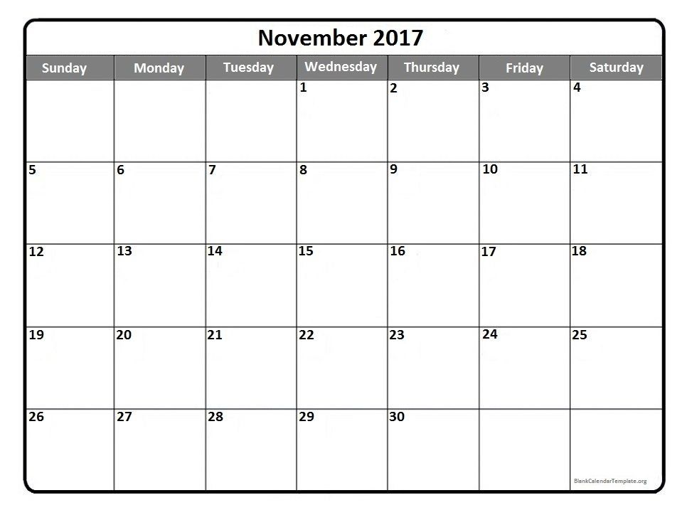 November calendar 2017 printable and free blank calendar Mom - free blank calendar