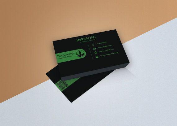 Herbalife Business Card - Digital Download   Clean   Flat   Smooth   Modern   Fresh   Design  Green   Dark   Independent Distributor   Black
