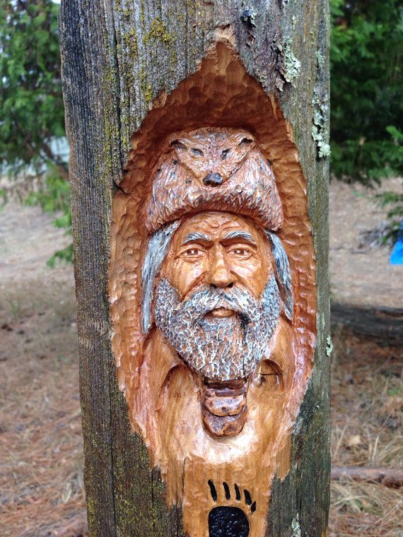 Cedar mountain man wood spirit carving by thebearguy