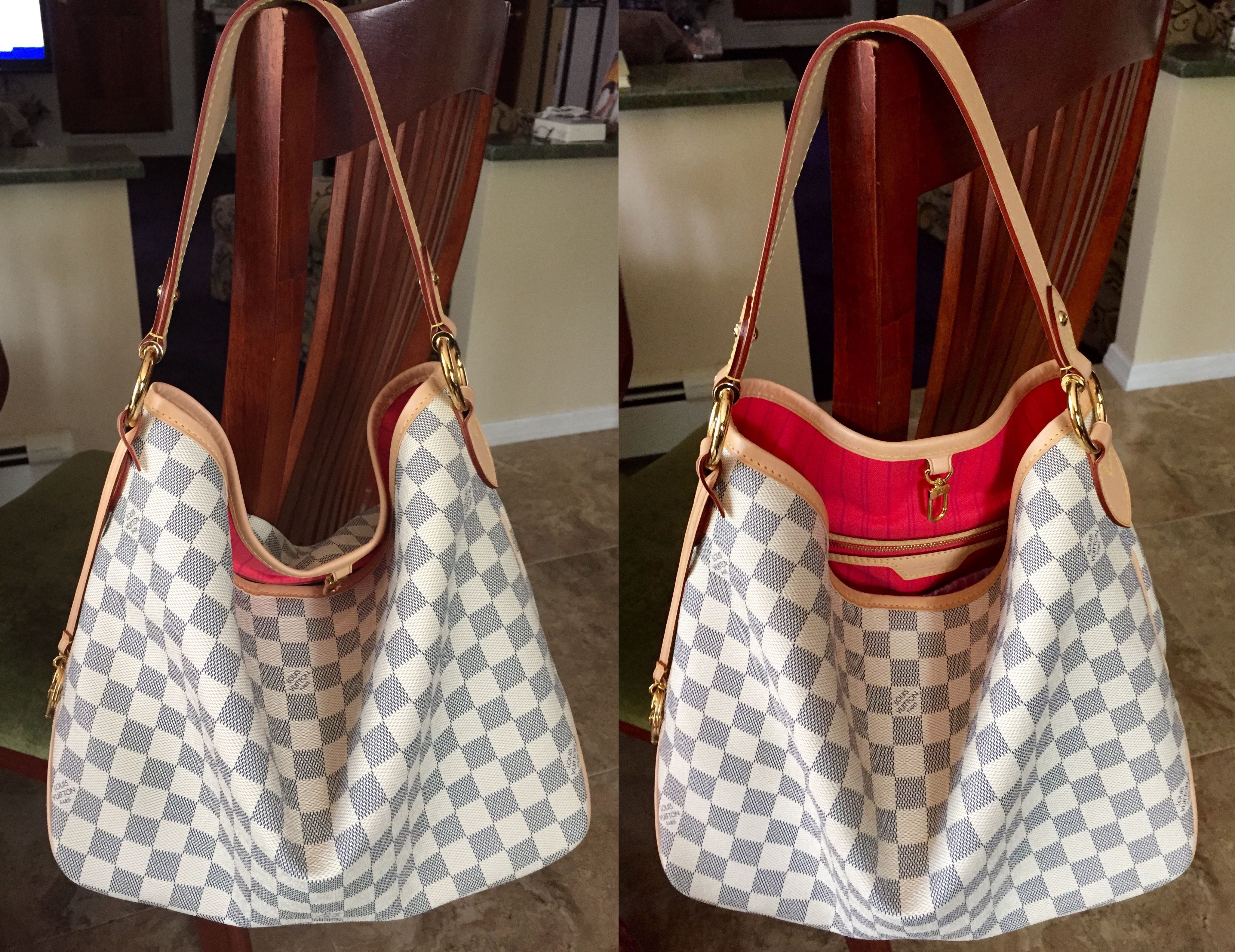 08146b0f5c86 Louis Vuitton Delightful PM in Damier Azur. Love the pink lining that just  pops! Fun