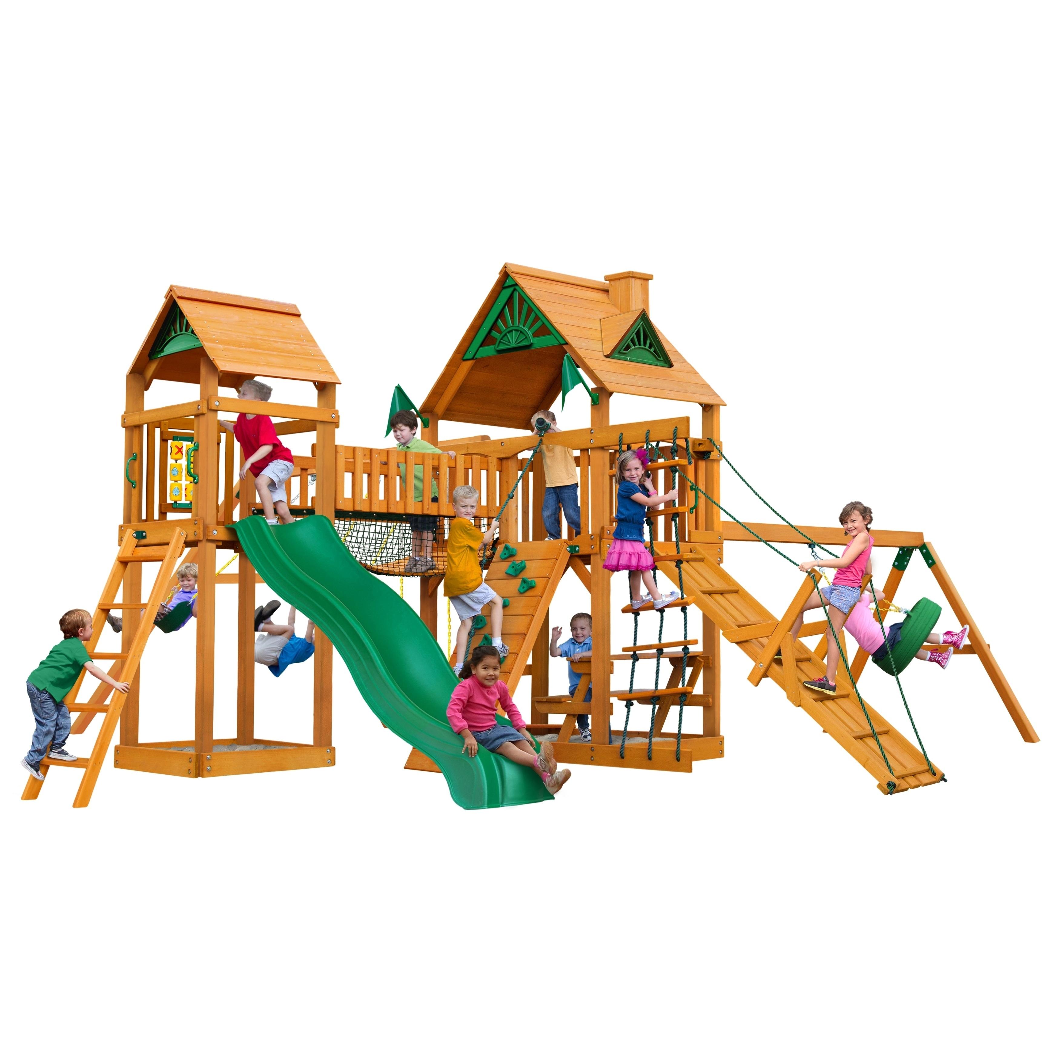 Gorilla Playsets Pioneer Peak Cedar Swing Set With Natural Cedar