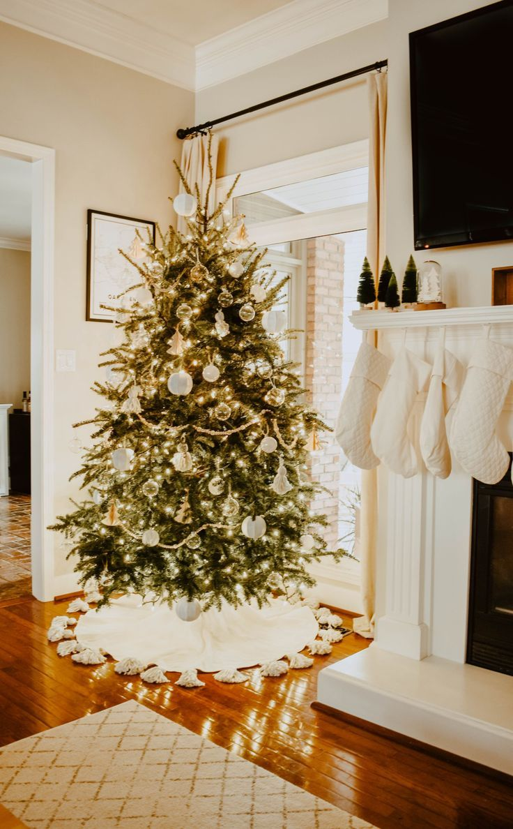DIY Tasseled Tree Skirt for a Simple Christmas Tree - House On Longwood Lane -   19 christmas tree 2020 simple ideas