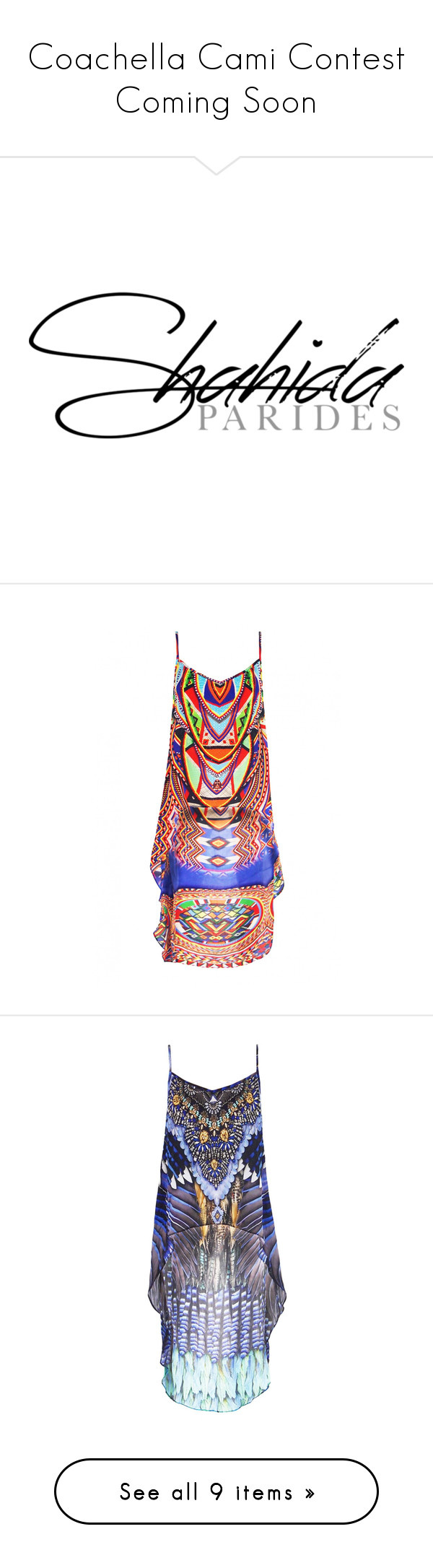 """""""Coachella Cami Contest Coming Soon"""" by shahida-parides ❤ liked on Polyvore featuring dresses, logo, tops, boho chic tops, bohemian style tops, colorful tops, tribal print tops, bohemian tops, feather top and embellished top"""