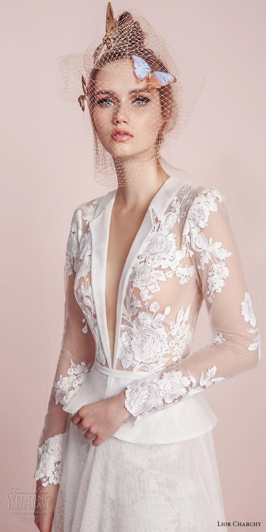 Lior charchy spring bridal long sleeves deep plunging v neck