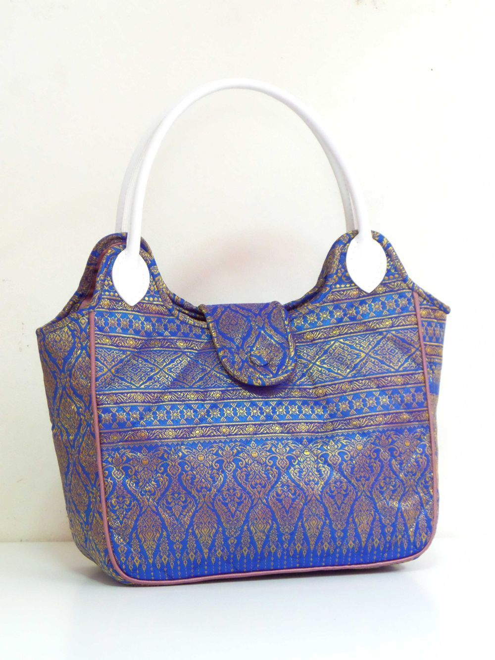 Thai Art Gold Blue Exclusive Thai fabric Tote Bag | Handmade ...
