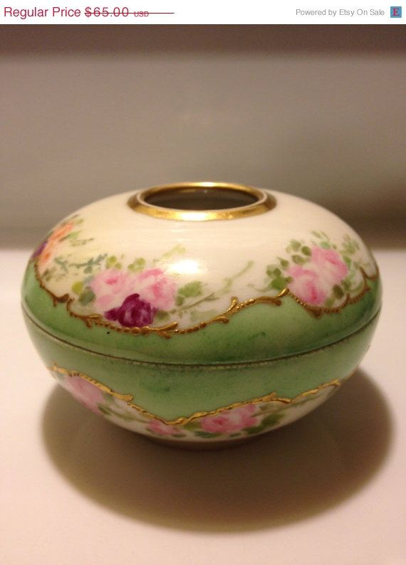 William Guerin /& Co Limoges France Handpainted Hair Receiver  Trinket Box  Blue Floral