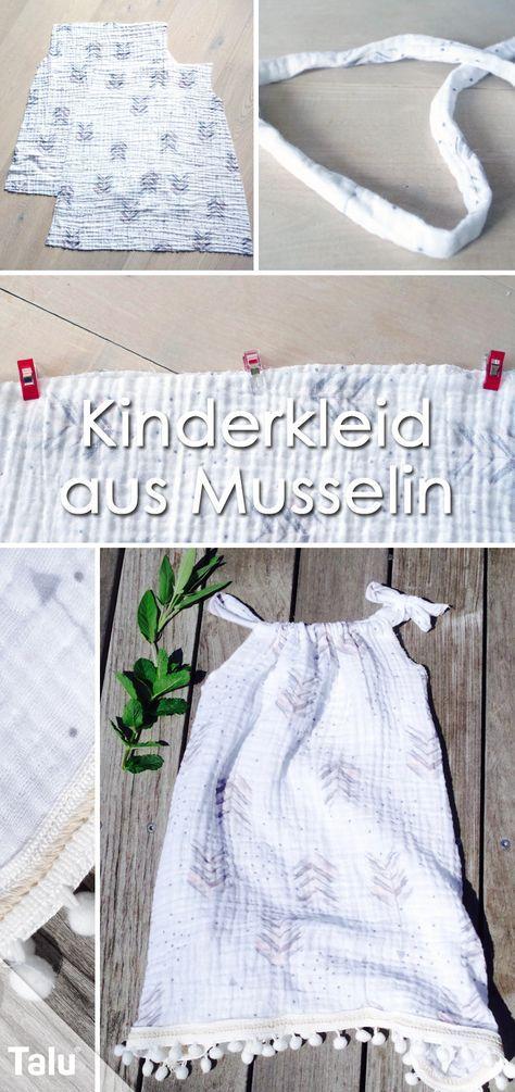 Kinderkleid nähen - Anleitung und Schnitt für ein Sommerkleid - Talu.de #keinekleidungnähen