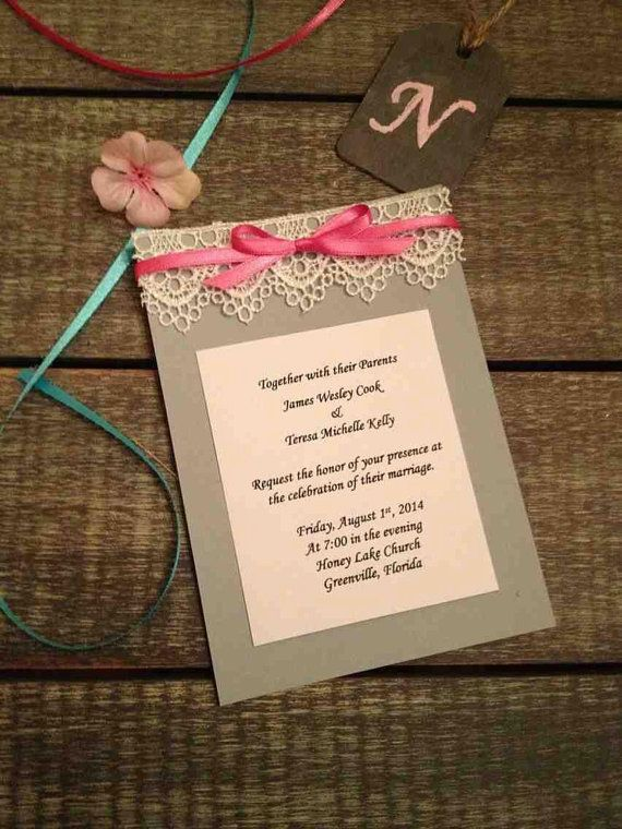 Lace Grey & Pink Shabby Chic Wedding Invitation  on Etsy, $1.65