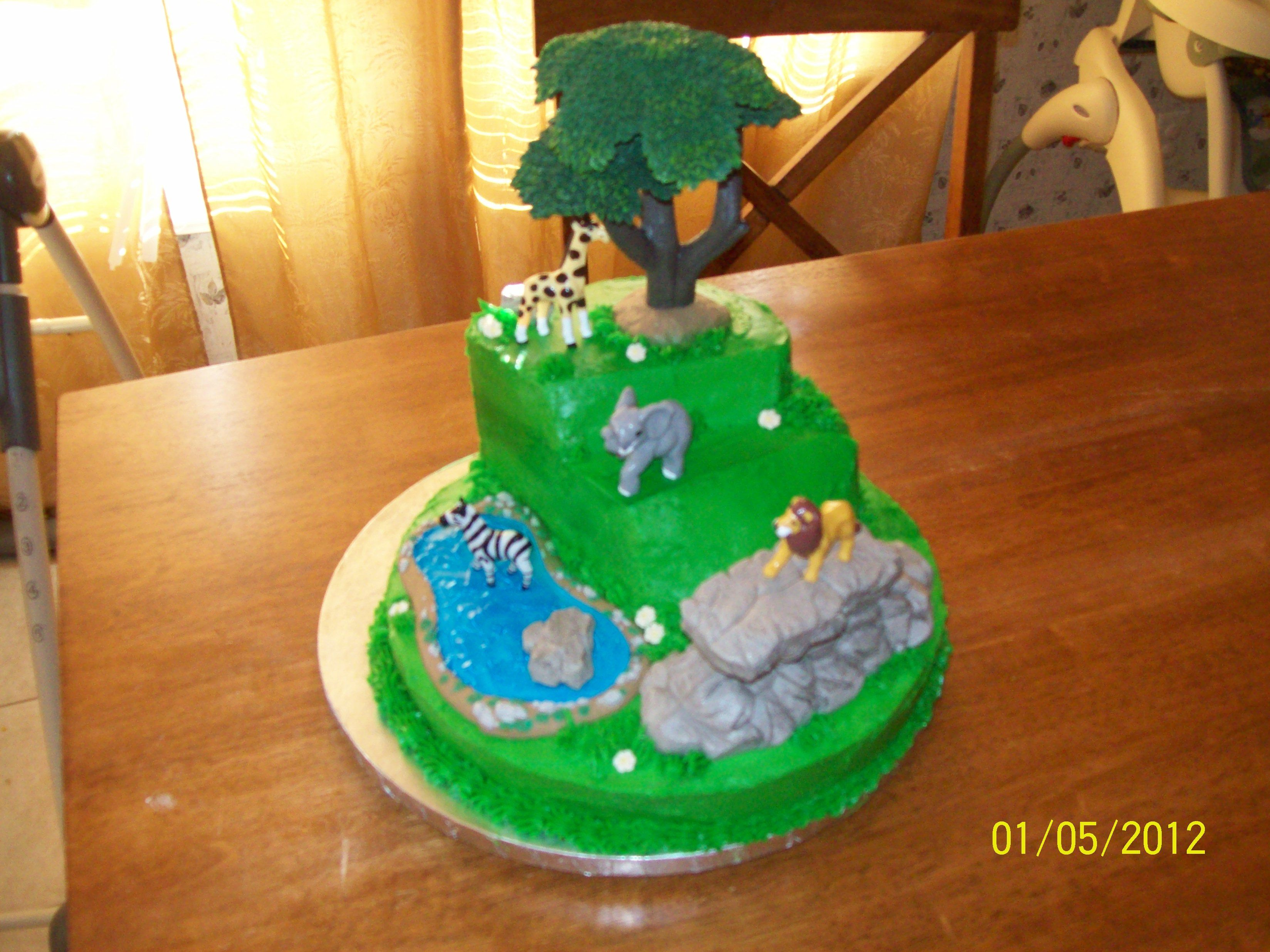 buttercream jungle theme cake my cakes Pinterest Jungle theme