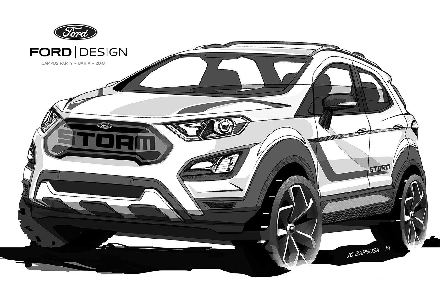 Ford Ecosport Storm On Behance Ford Ecosport Ford Suv Car Design Sketch