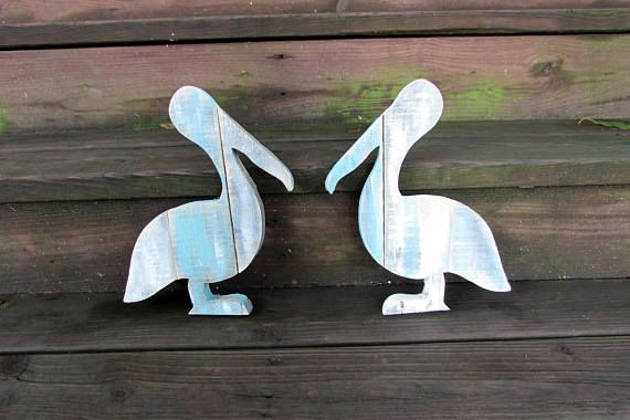 Set of 2 Shabby Chic 12 inch Reclaimed Wood Pelican Wall Art ...