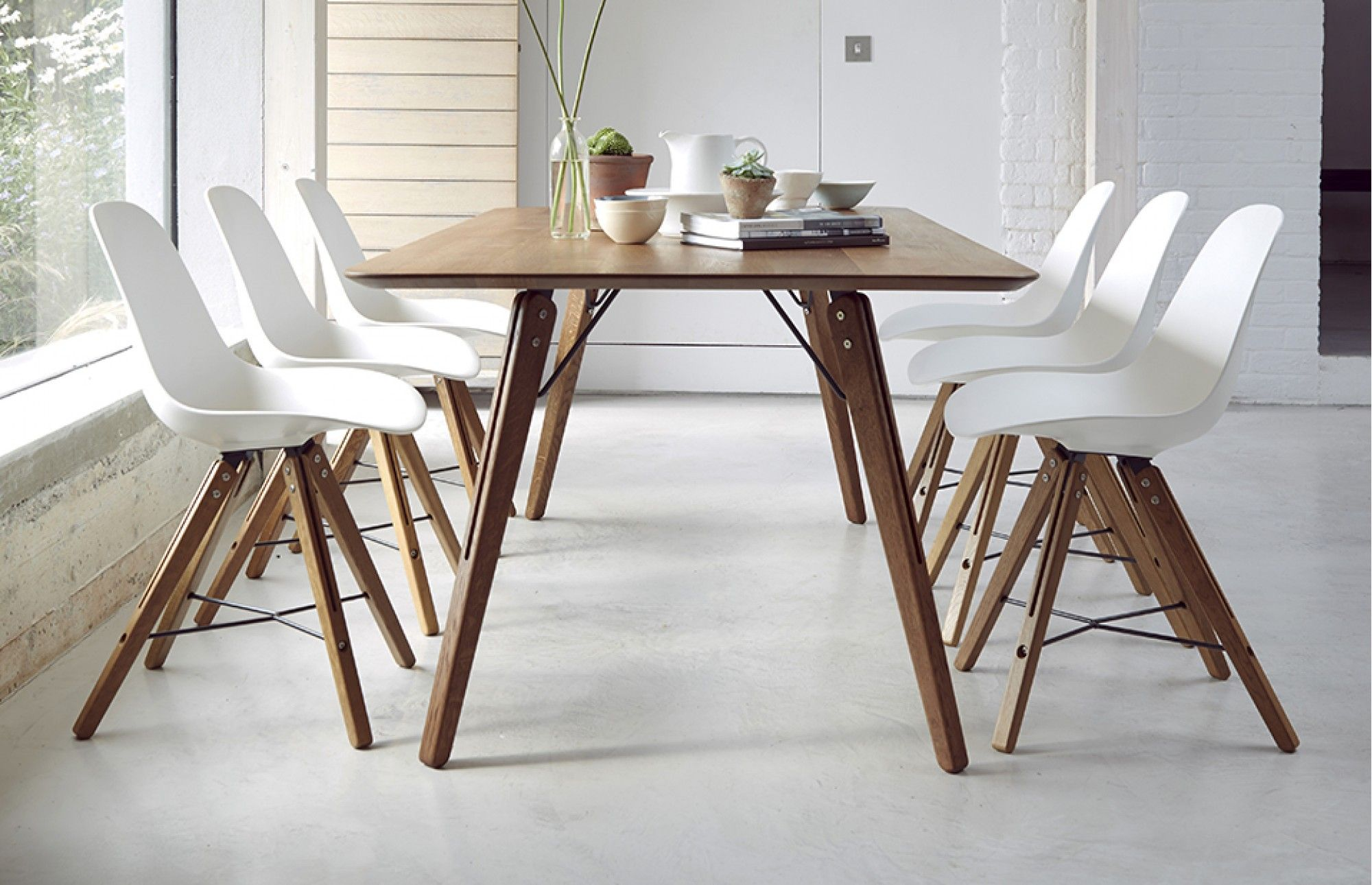 Essence Solid Elm Rectangular Dining Table With Copper Cap Legs - Modern 6 seater dining table and chairs