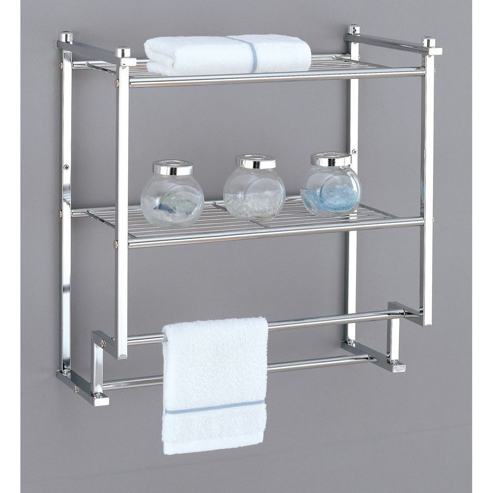 Wall Mounted Towel Rack Holder Hotel Bathroom Storage Shelf Bar Chrome New Organize Bathroom Wall Shelves Wall Mounted Bathroom Storage Bathroom Storage Units