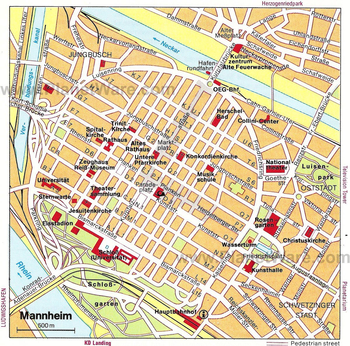 Map Of Germany Mannheim.Mannheim Map Tourist Attractions Maps Etc In 2019 Mannheim