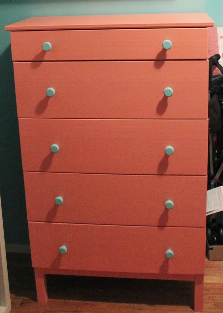 my coral dresser with blue knobs  Ikea Tarva dresser  painted with Benjamin  Moore Coral Gables in eggshell. paint ideas for tarva dresser   Google Search   Bedroom facelift