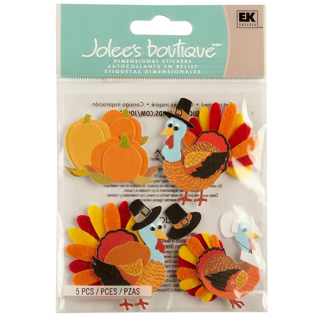 Jolee S Boutique Turkey Character Stickers