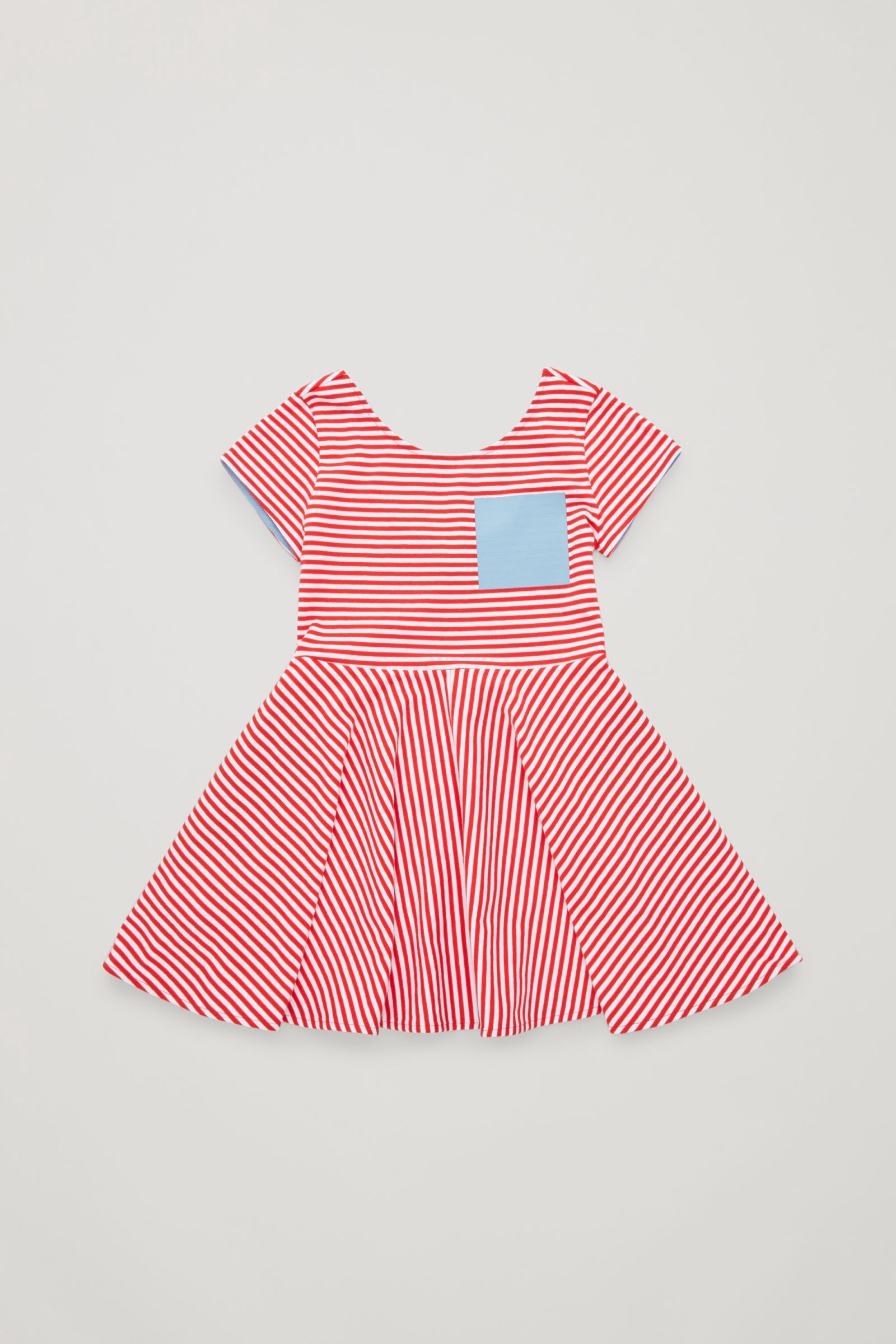 5f0d6370255a Cos Striped Cotton Dress - Red   White Pale Blue 4-6Y