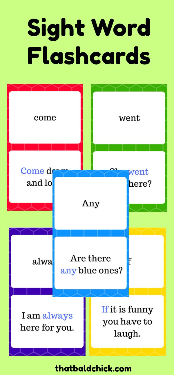 Printable flashcards for each the five Dolch Sight Word lists for