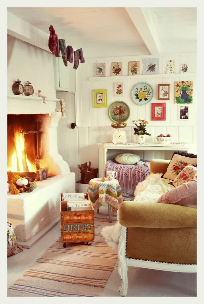 Modern Bohemian Small Living Room Ideas With Lush Seat Also Hanging  Portraits