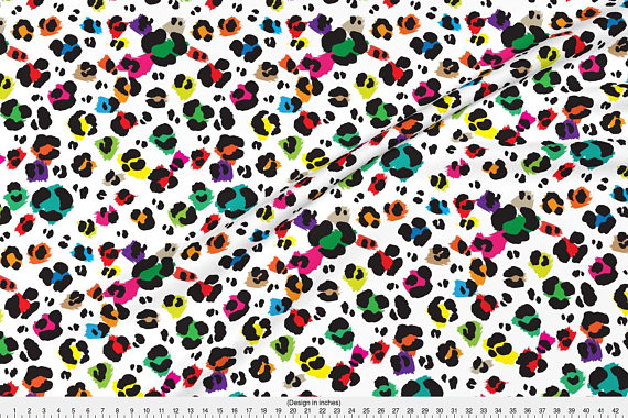 Rainbow Leopard Print Fabric - Leopard Print By Ornaart