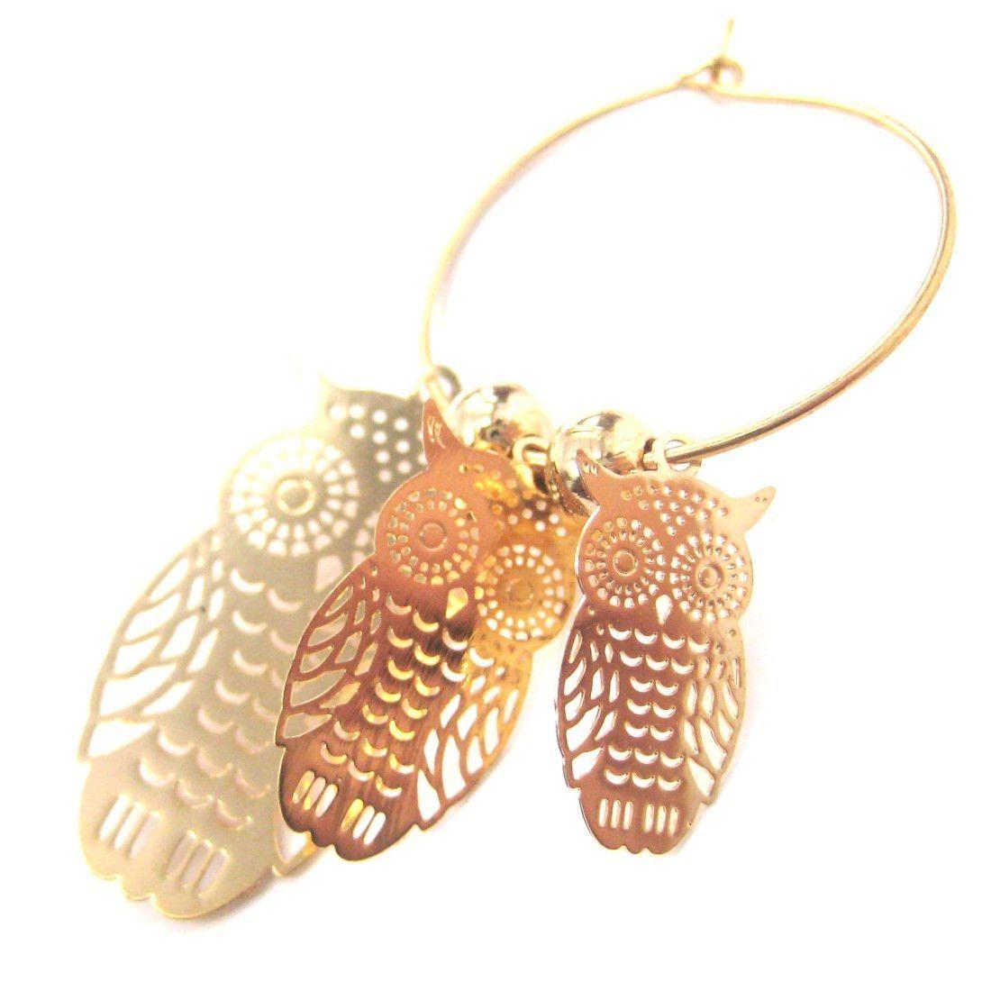 Owl Sillhouette Cut Out Shaped Dangle Hoop Earrings in Gold | Animal Jewelry