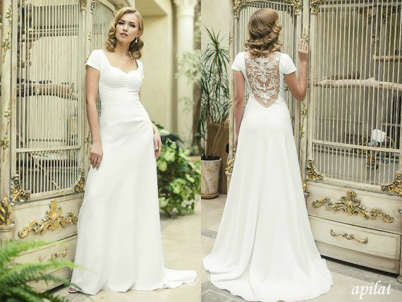 Open Back Crepe Wedding Dress With Lace On The And Train Gown Simple Beach
