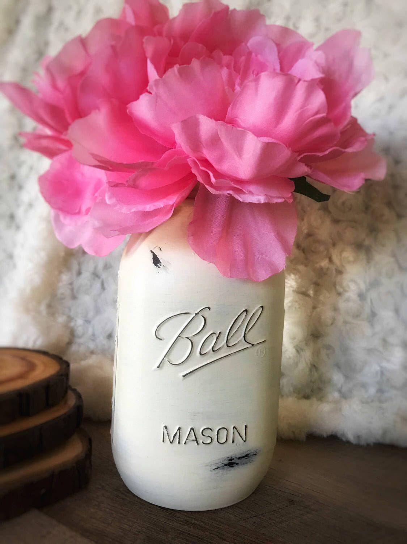 Painted Mason Jar, Mason Jar, Yellow Mason Jar, Dorm Decor, Wedding ...