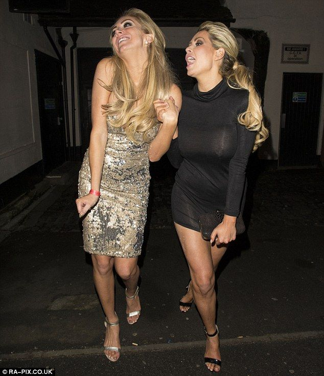 We like to party: The pals made their presence known as they stepped out into the chilly n...