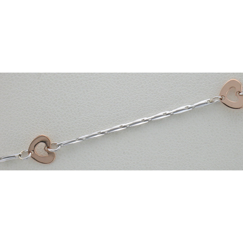 "Sartor Hamann :: #EST1831 14K White and Rose Gold 17"" Hearts Necklace"
