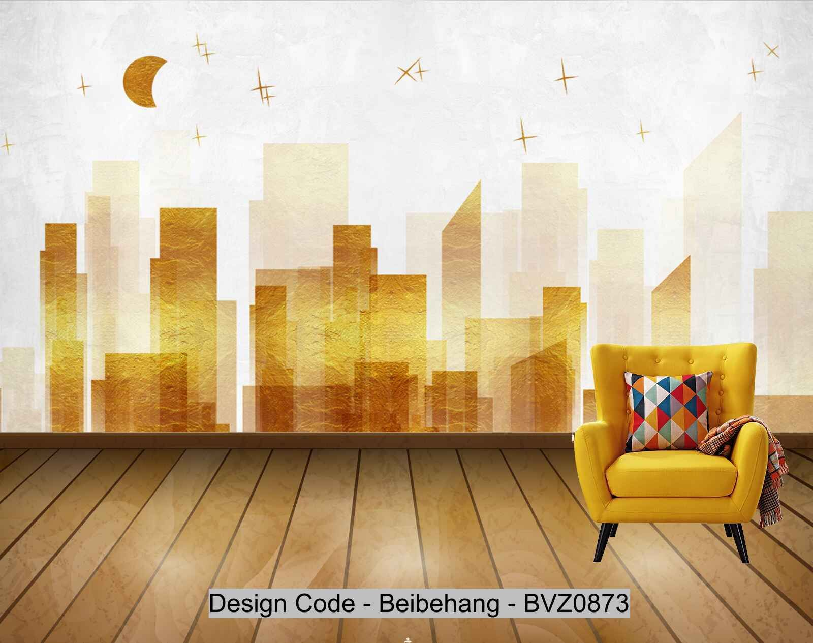 Beibehang Bvz0873 Modern Minimalistic Texture Golden Cit