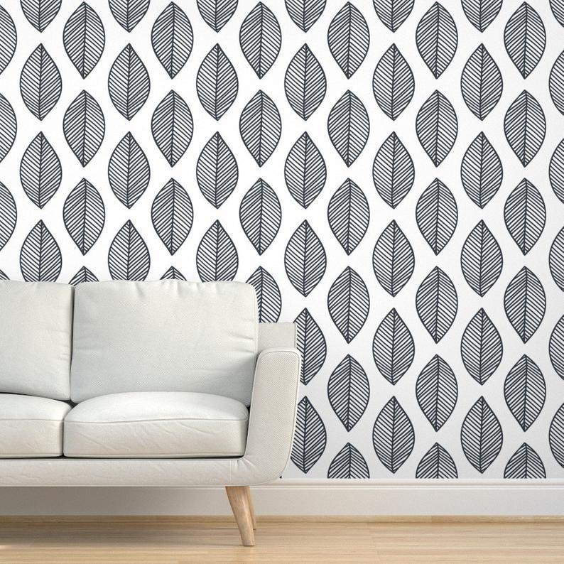 Gray Leaf Wallpaper Leaf On Repeat By Jillcookdesigns Leaf Etsy Leaf Wallpaper Drawer And Shelf Liners Self Adhesive Wallpaper