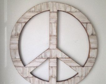 Peace Rustic Wood Wall Decor Painted Sign