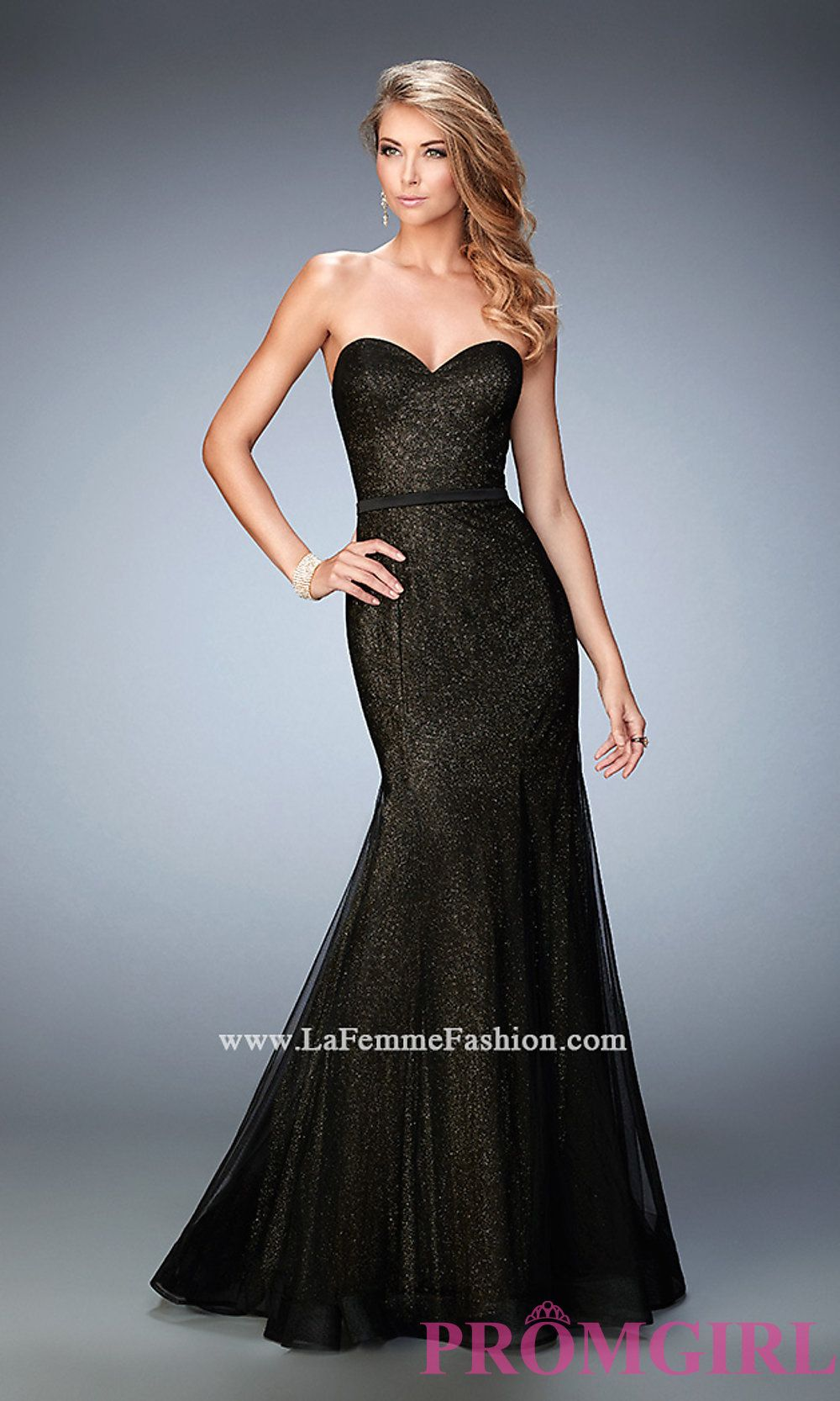 Long strapless glitter mermaid prom dress by la femme lf