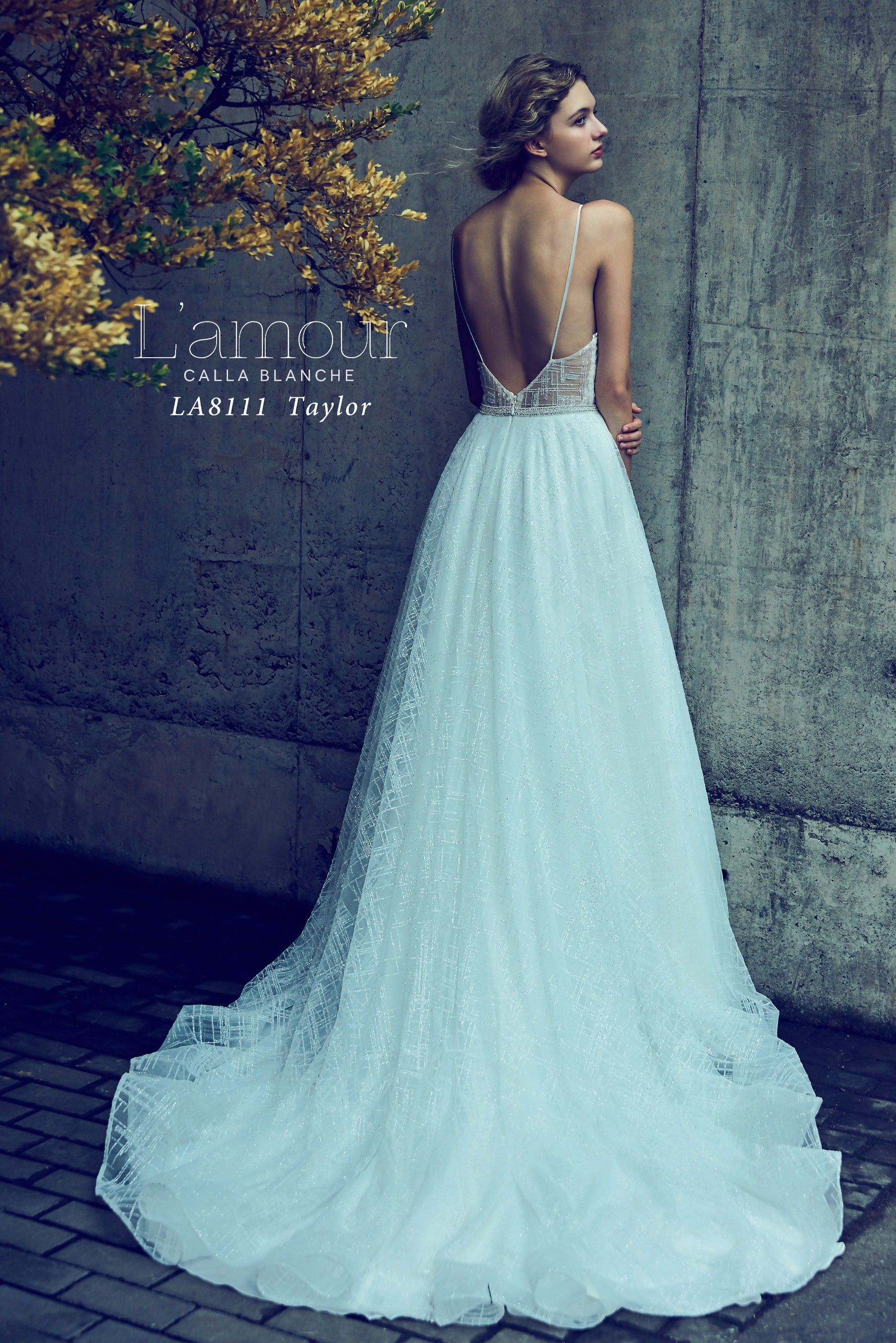 LA8111 Taylor Plunging neckline with low back and spaghetti straps ...