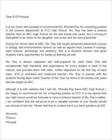 Sample Letter of Recommendation for Teacher - 18+ Documents in - letter of recommendation word