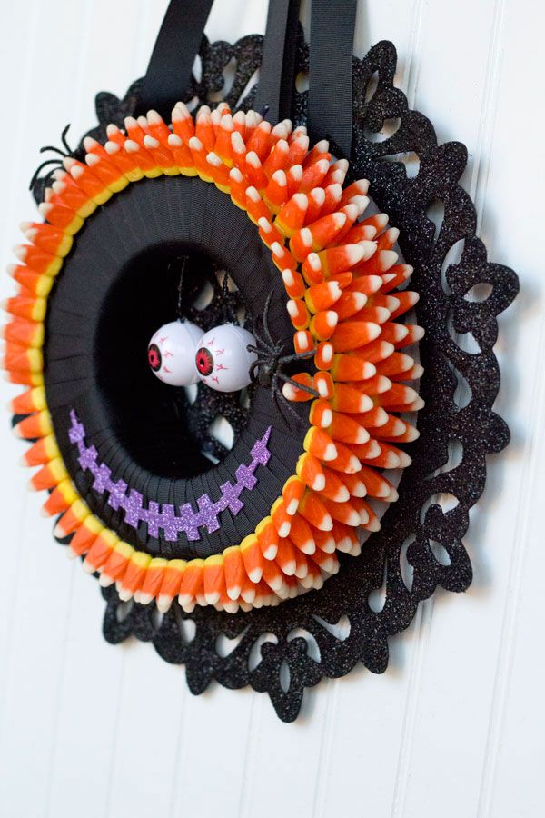 Candy Corn Halloween Wreath Pinterest Candy corn wreath, Candy - halloween club decorations