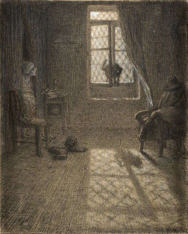 Jean-François Millet - The Cat Who Became a Woman | pastel and ...