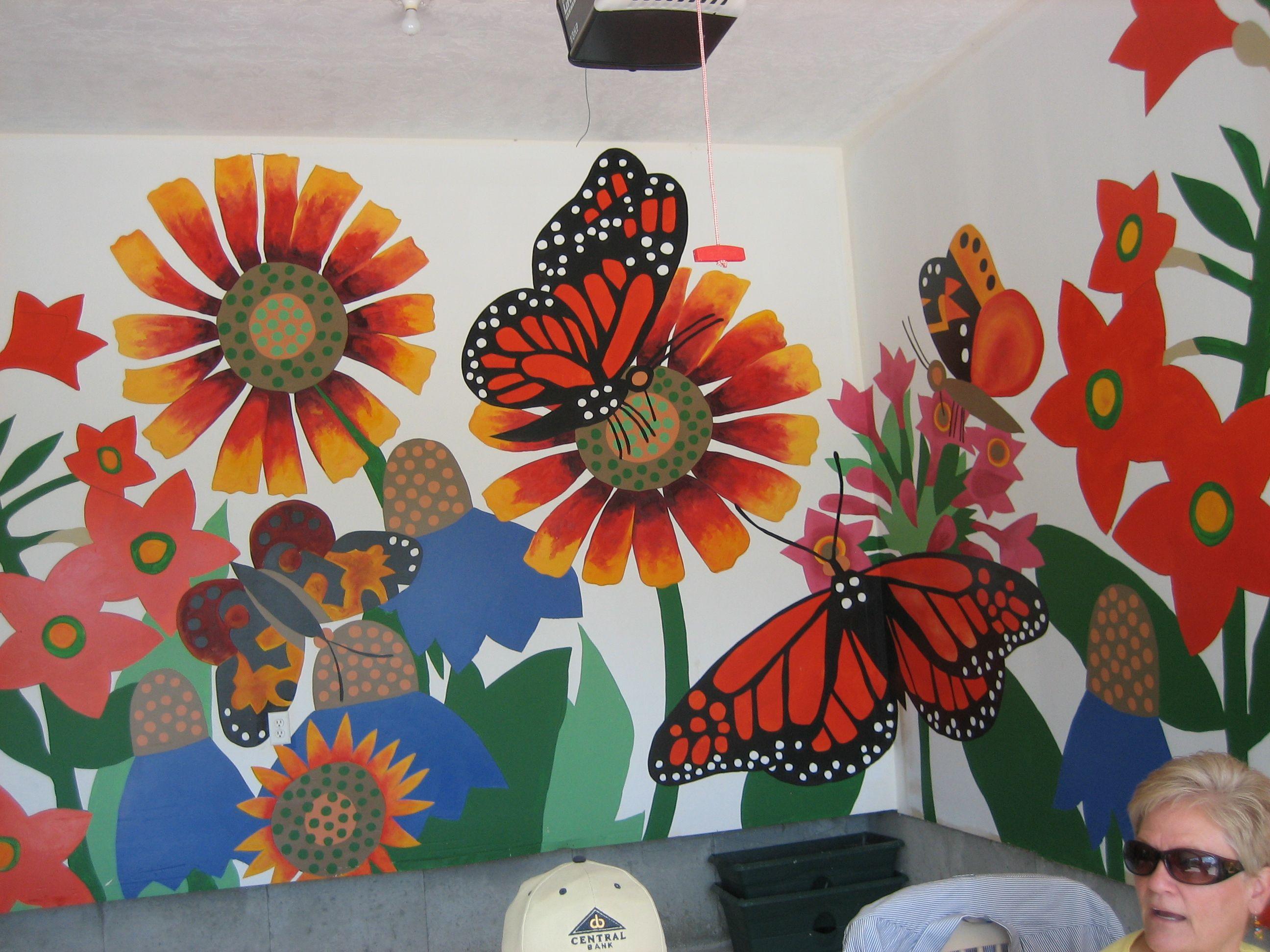 Flower-butterfly-mural-garage-organization-2