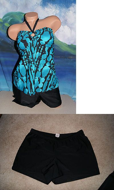 463cb3b418 Swimwear 15748: New Liz Lange Maternity Womans Bandeau Turquoise Black  Print Tankini Set Small -