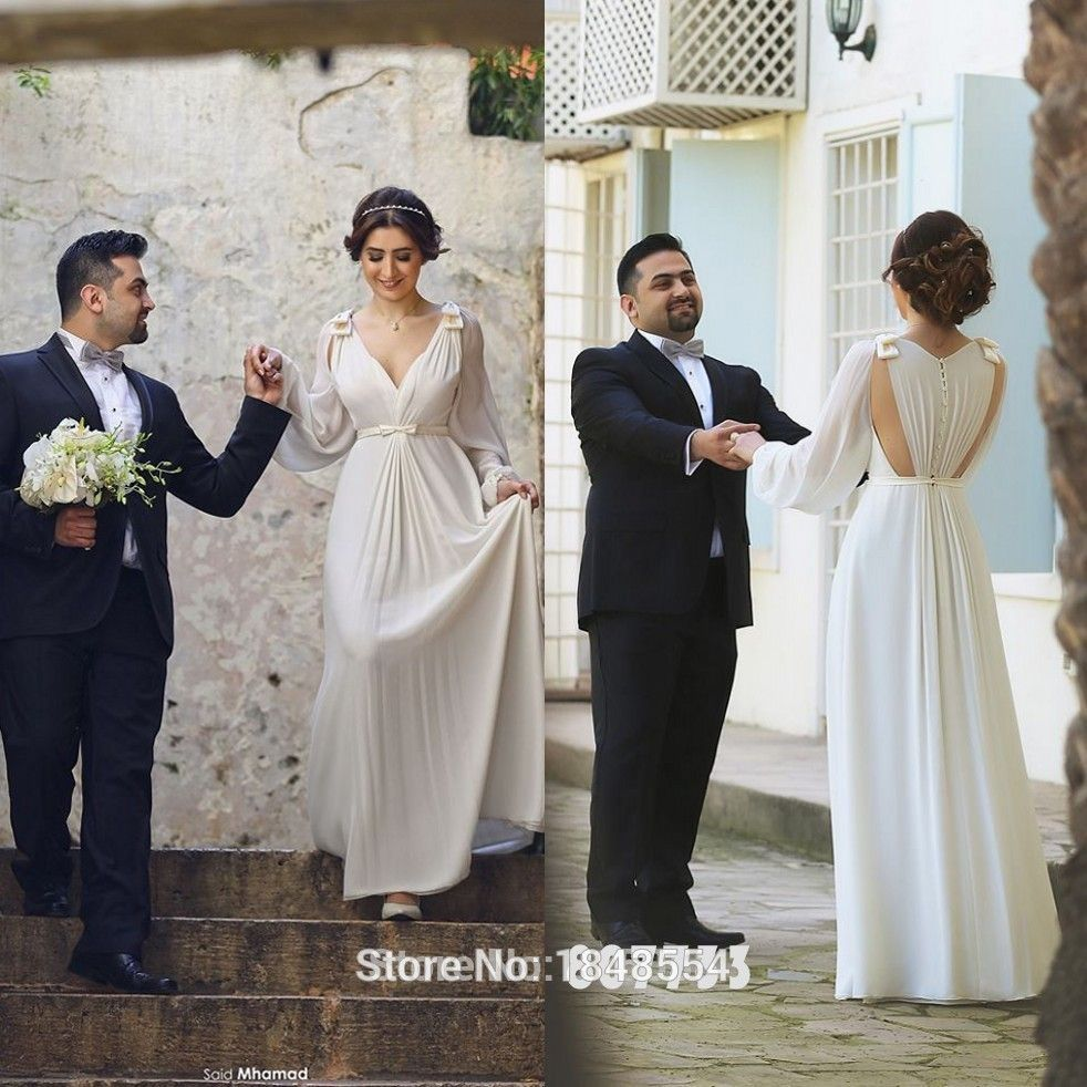 Meng zhi yuan jwd423 elegant ivory long sleeve wedding for Greek goddess style wedding dresses