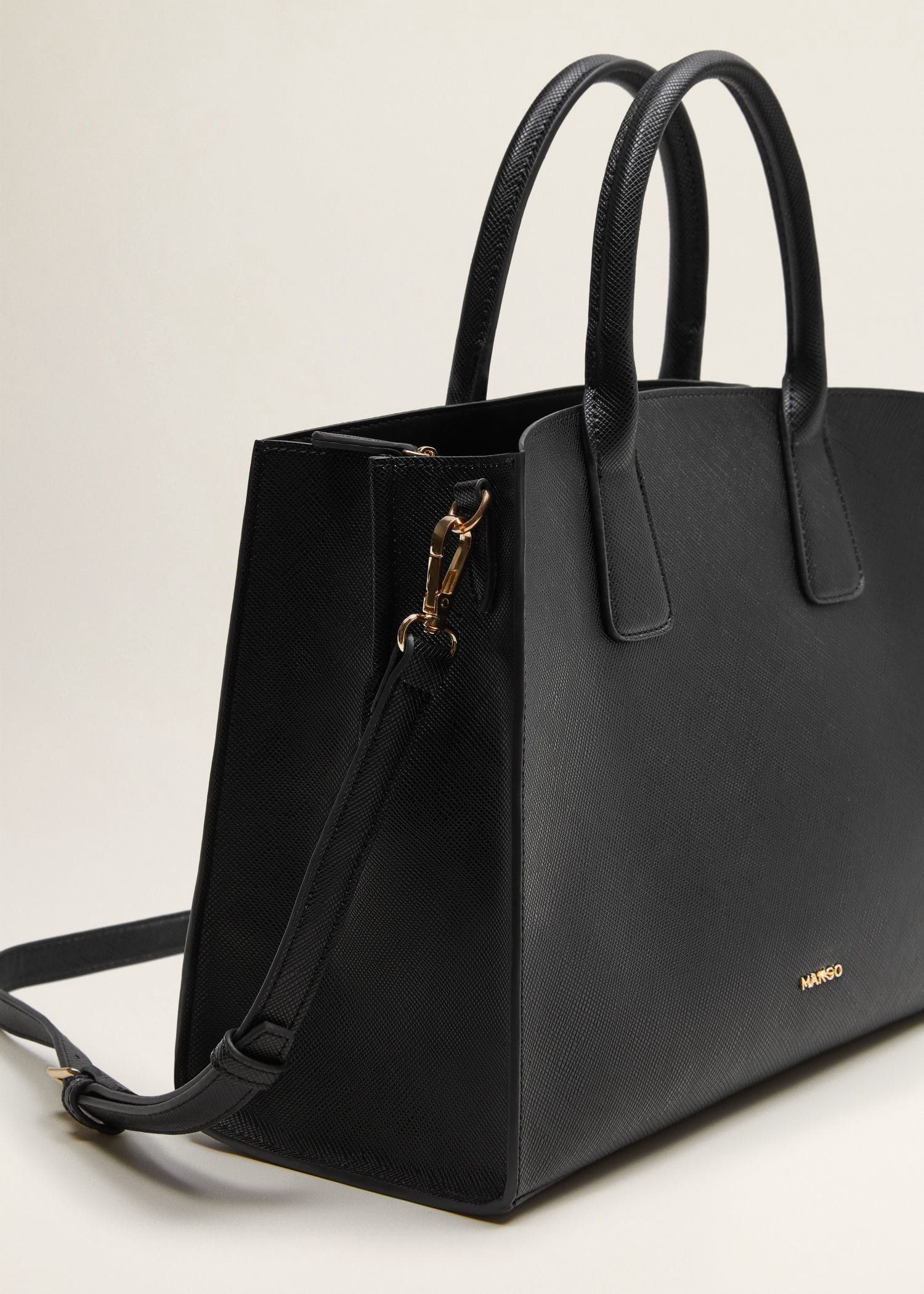 14243d2a56 Saffiano-effect tote bag by Mango | Products | Bags, Black tote bag ...