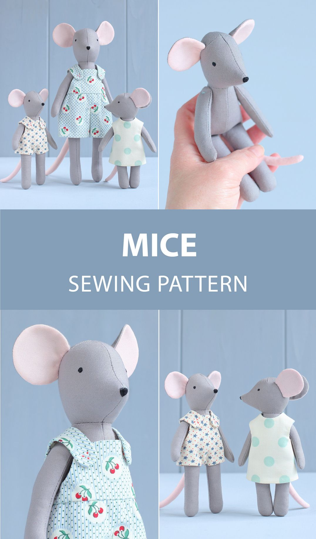 2 PDF: Mouse + Two Mini Mice Sewing Pattern & Tutorial — DIY Animal Stuffed Doll, Soft Toy, Dress up Doll, Mouse Doll with Outfit