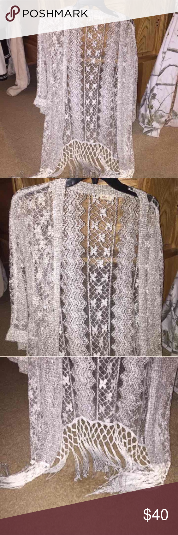 Hollister Gray/Silver Lace Fringe Cardigan | Hollister, Pacsun and ...