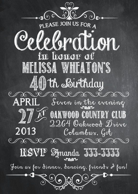 Chalkboard Adult Birthday Party Invitation 30th 40th 50th 21st