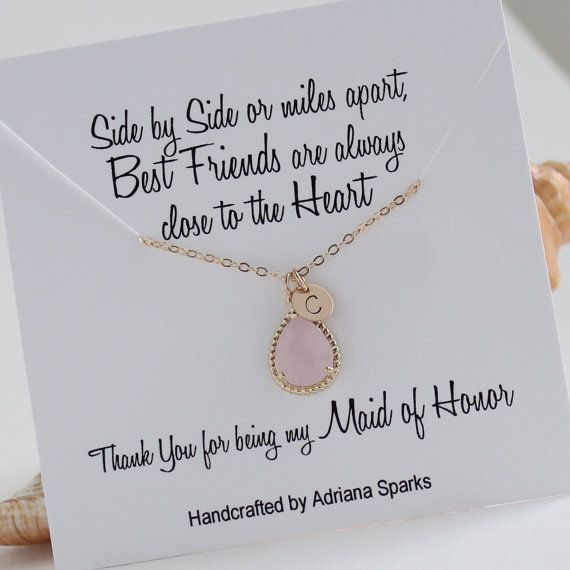 Personalized Maid Of Honor Gift Gold Pink Initial Necklace Blush Bridal Jewelry