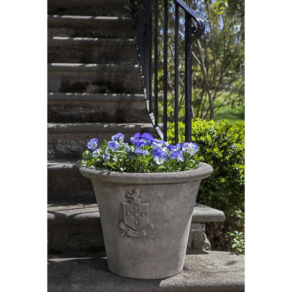 Kinsey Garden Decor Traditional Coat Of Arms Heraldic Outdoor Cast Stone Planter Concrete Cement Formal Flower Pots Stone Planters Cast Stone Planters