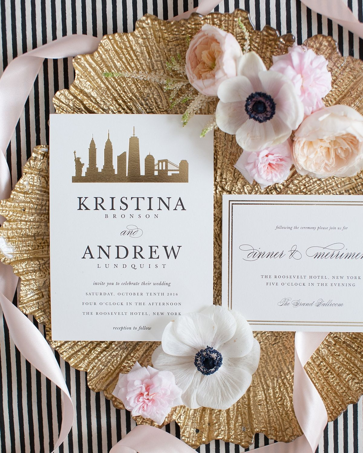 Gold Foil City Skyline Silhouette Wedding Invitations by