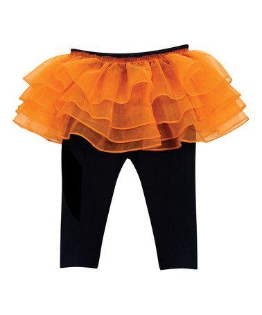 b0a8b6b083f01 Another great find on #zulily! Black & Orange Tutu Leggings - Infant  #zulilyfinds
