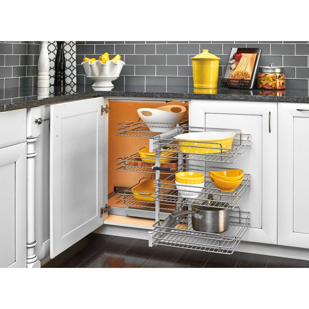 Rev A Shelf 15 In Corner Cabinet Pull Out Chrome 3 Tier Wire Basket Organizer With Soft Close Slides 5psp3 1 Blind Corner Cabinet Shelves Cabinet Organization